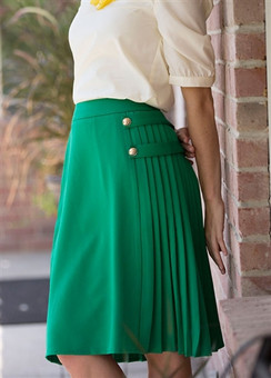 Green Pleated Button Skirt