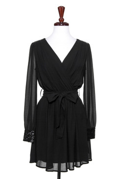 Black Long Sleeve Chiffon Wrap Dress