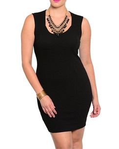 Black Sleeveless Stretch Knit Dress
