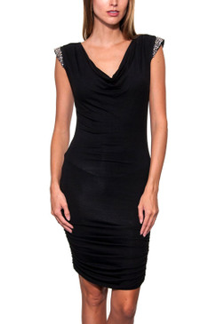 Black Cowl Neck Knit Dress