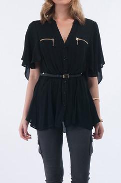 Black Wing Sleeve Top