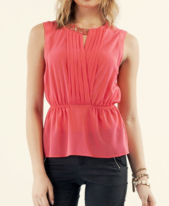 Studed Sleeveless Surplice Top - Coral