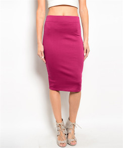 High Waisted Pencil Skirt - Fuchsia