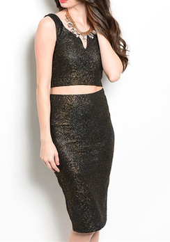 Black/Gold Top & Skirt Set