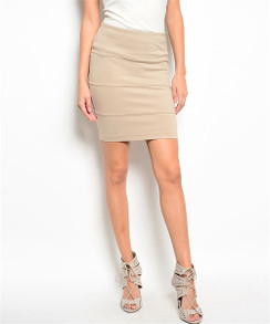Beige Fitted Mini Skirt