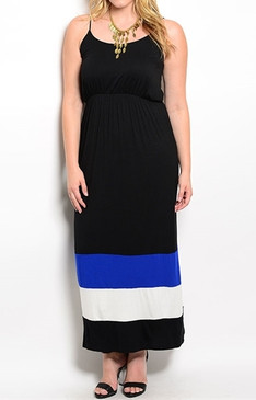 Striped Hem Maxi Dress - Black/Blue/Wht