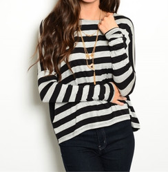 Gray/Black Striped Sweater