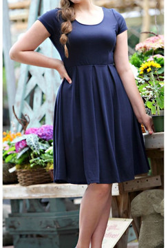 Navy Knit Cap Sleeve Dress
