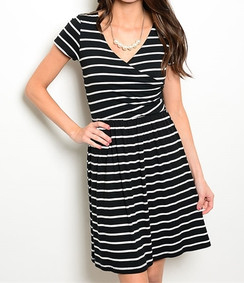 Gathered Waist Stripe Wrap Dress - Black/White