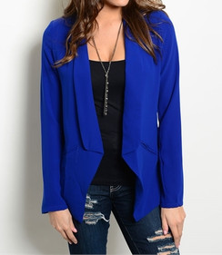 Long Sleeve Open Front Blazer - Royal