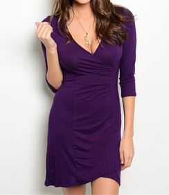 Jersey Knit Ruched Dress - Purple