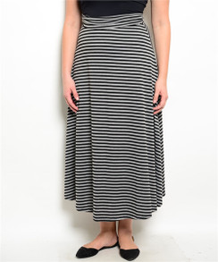A-Line Striped Midi Skirt - Gray/Black