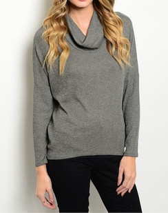 Gray Cowl Neck Top