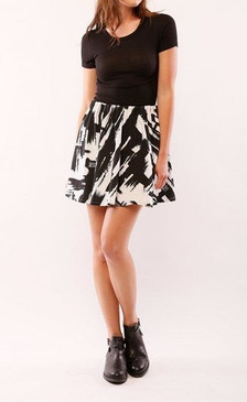 Black/White Printed Flare Mini Skirt