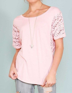 Lace Detail Short Sleeve Top - Pink