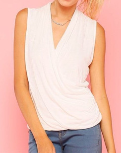 Sleeveless Knit Surplice Top- White