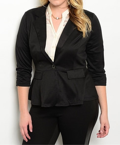 Single Button Stretch Blazer - Black