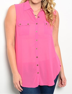 Button Front Fuchsia Tunic