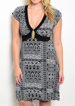 Abstract Print Dress - Black/White