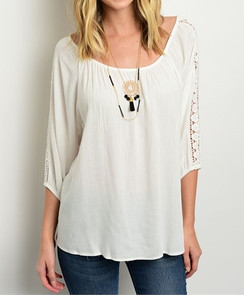 Relaxed Fit Top with Crochet Details -White