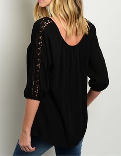Relaxed Fit Top with Crochet Details -Black