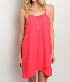 Coral Flowy Trapeze Dress