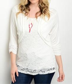 Lace Detail Stretch Knit Top - White