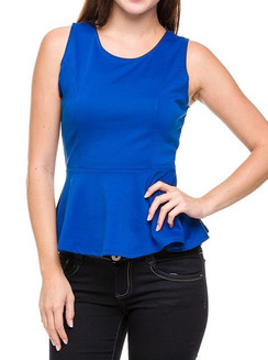 Royal Scoop Neck Peplum Top