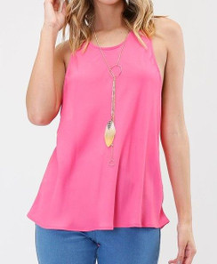 Sleeveless Racer Back Tank Top - Fuchsia
