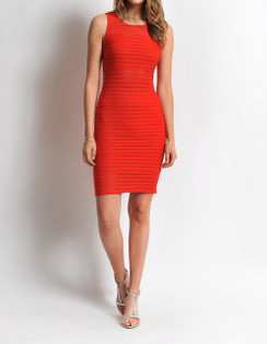 Sheer Stripe Body-Con Dress- Red
