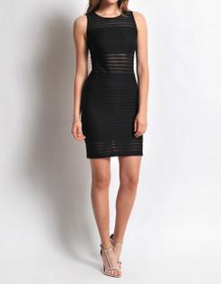 Sheer Stripe Body-Con Dress- Black