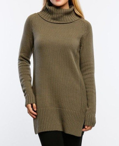 Turtle Neck Sweater Dress - Olive