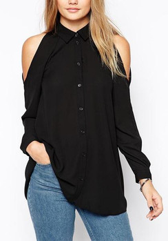Cold Shoulder Button Down Blouse-Black
