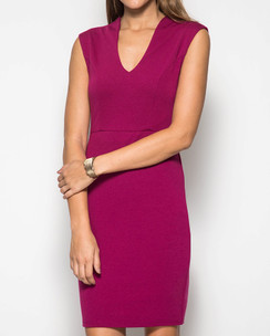 Bodycon Solid Dress--Magenta