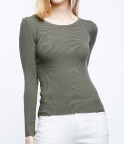 Long Sleeve Rib Knit Top - Charcoal