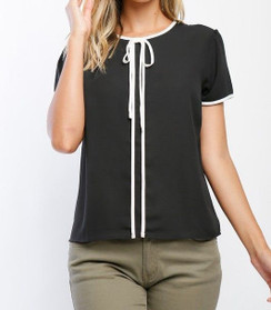 Contrast Trim Short Sleeve Blouse - Black/White