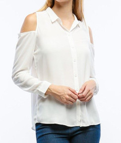 Cold Shoulder Button Down Blouse- Off White