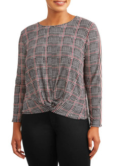 Houndstooth Plaid Twist Front Top