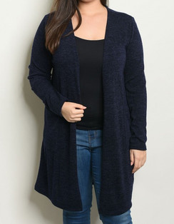 Navy-Knit Cardigan