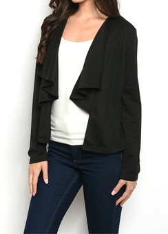 Black -Waterfall Front Blazer