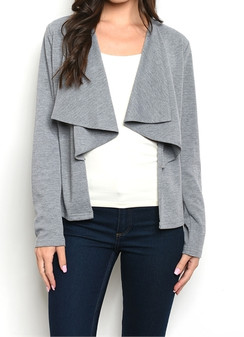 Gray -Waterfall Front Blazer