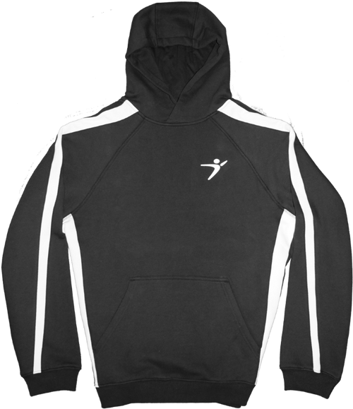 Our Striped Pullover Hoodie in our Black/White version.