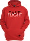 Our Take Flight Hoodie in our red version.
