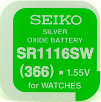 Seiko 366 (SR1116SW) 1.55v Silver Oxide (0%Hg) Mercury Free Watch Battery - Made in Japan