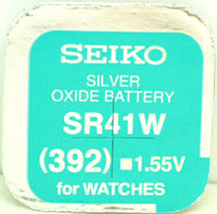 Seiko 392 (SR41W) 1.55v Silver Oxide (0%Hg) Mercury Free Watch Battery - Made in Japan