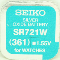 Seiko 361 (SR721W) 1.55v Silver Oxide (0%Hg) Mercury Free Watch Battery - Made in Japan
