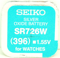 Seiko 396 (SR726W) 1.55v Silver Oxide (0%Hg) Mercury Free Watch Battery - Made in Japan