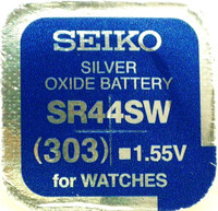 Seiko 303 (SR44SW) 1.55v Silver Oxide (0%Hg) Mercury Free Watch Battery - Made in Japan