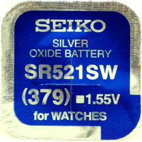 Seiko 379 (SR521W) 1.55v Silver Oxide (0%Hg) Mercury Free Watch Battery - Made in Japan