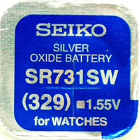 Seiko 329 (SR731SW) 1.55v Silver Oxide (0%Hg) Mercury Free Watch Battery - Made in Japan